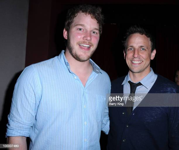 Actors Chris Pratt and Seth Meyers attend the reception for NBC's 'Parks and Recreation' Emmy Screening held at the Leonard H Goldenson Theatre on...
