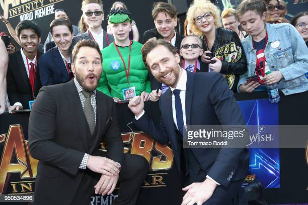 Actors Chris Pratt and Tom Hiddleston attend the Los Angeles Global Premiere for Marvel Studios' Avengers Infinity War on April 23 2018 in Hollywood...