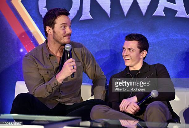 Actors Chris Pratt and Tom Holland as seen at Disney/Pixar's ONWARD Global Press Conference at SLS Hotel on February 14 2020 in Beverly Hills...