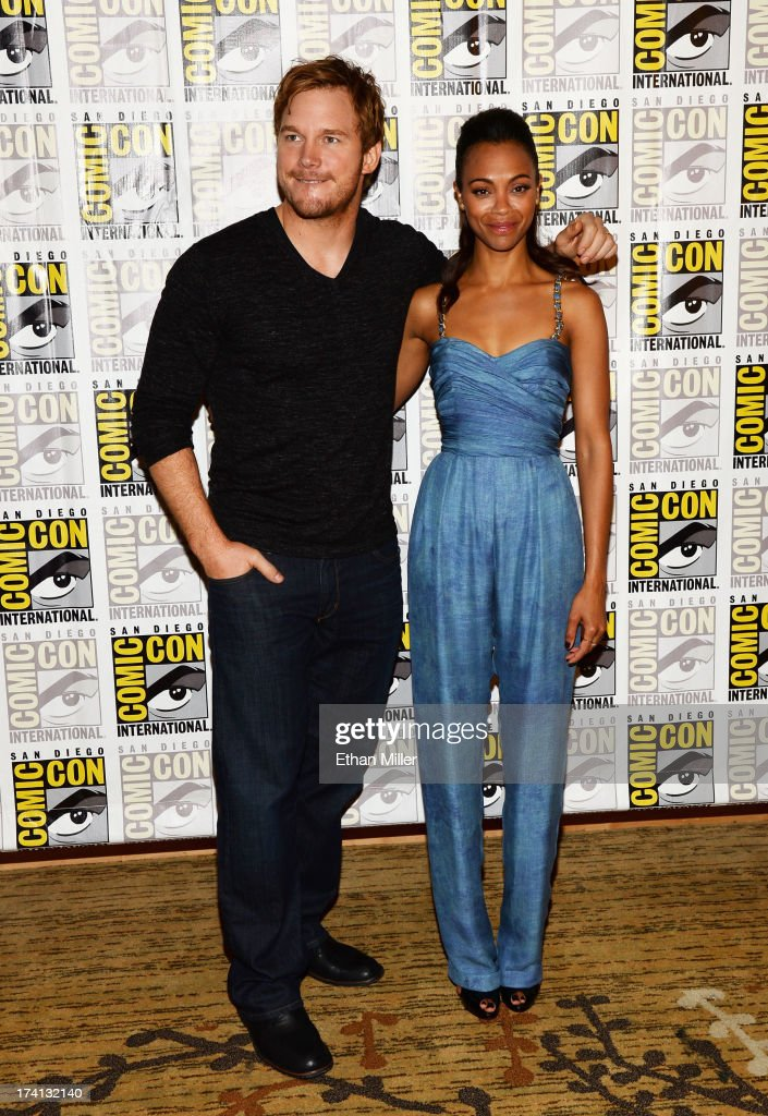 Actors Chris Pratt (L) and Zoe Saldana attend Marvel's 'Guardians of The Galaxy' press line during Comic-Con International 2013 at the Hilton San Diego Bayfront Hotel on July 20, 2013 in San Diego, California.