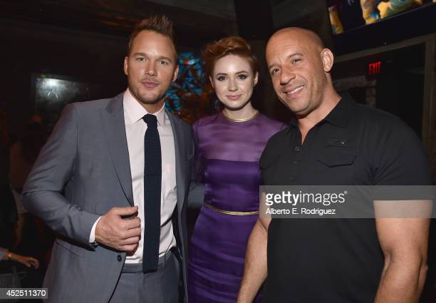 """Actors Chris Pratt, Karen Gillan and Vin Diesel attend the after party for The World Premiere of Marvel's epic space adventure """"Guardians of the..."""