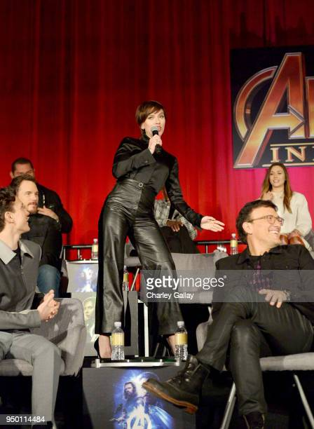 Actors Chris Pratt Scarlett Johansson Director Anthony Russo and actor Elizabeth Olsen attend the Global Press Conference at the Avengers Infinity...