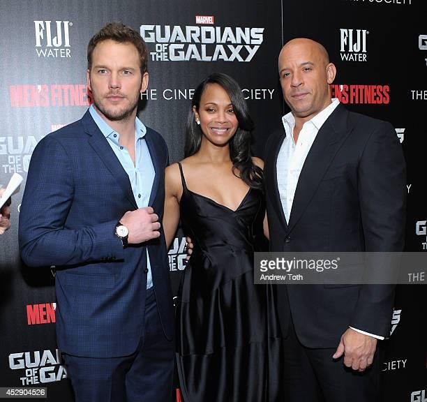 Actors Chris Pratt Zoe Saldana and Vin Diesel attend The Cinema Society with Men's Fitness FIJI Water host a screening of 'Guardians of the Galaxy'...