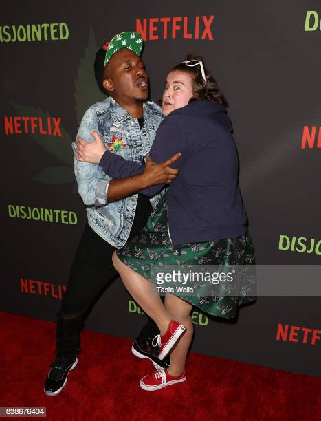 """Actors Chris Redd and Betsy Sodaro at the premiere of Netflix's """"Disjointed"""" at Cinefamily on August 24, 2017 in Los Angeles, California."""