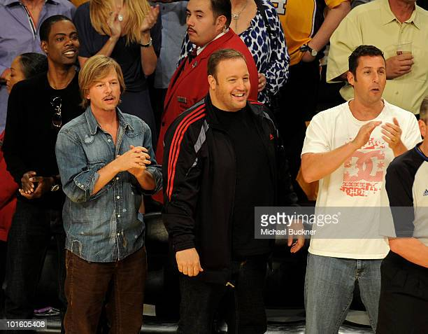 Actors Chris Rock David Spade Kevin James and Adam Sandler attend Game 1 of the NBA Finals between the Los Angeles Lakers and the Boston Celtics at...
