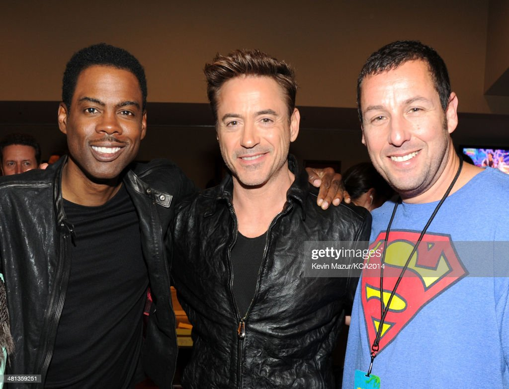 Actors Chris Rock, Robert Downey Jr. and Adam Sandler attend Nickelodeon's 27th Annual Kids' Choice Awards held at USC Galen Center on March 29, 2014 in Los Angeles, California.