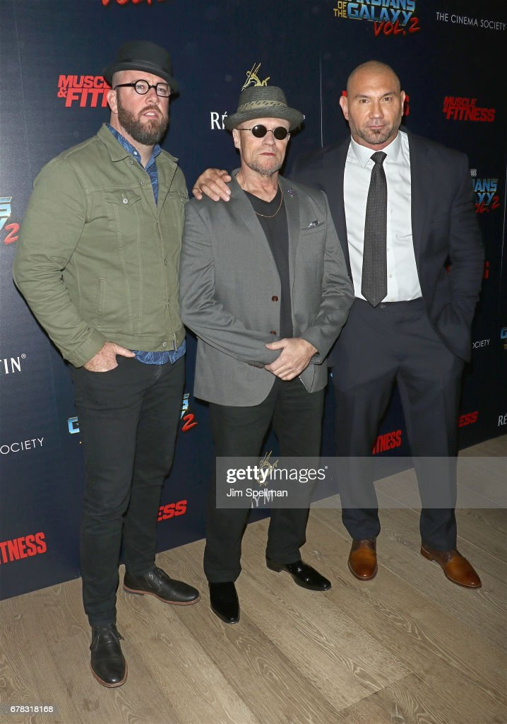 Actors Chris Sullivan, Michael Rooker and Dave Bautista attend the screening of Marvel Studios' 'Guardians Of The Galaxy Vol. 2' hosted by The Cinema Society at the Whitby Hotel on May 3, 2017 in New York City.