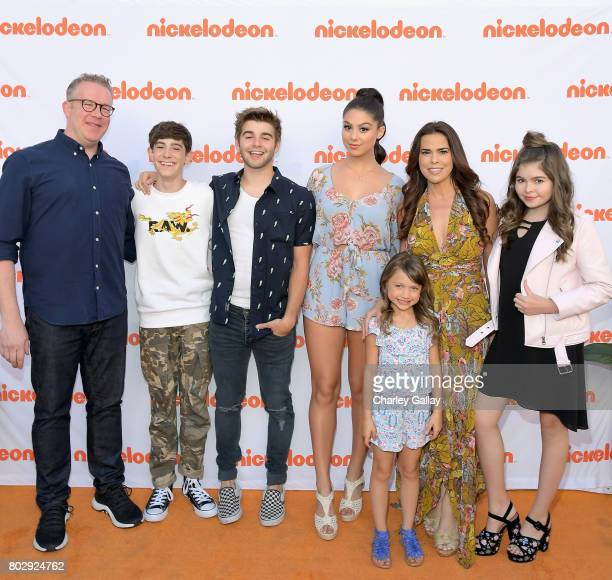 Actors Chris Tallman Diego Velazquez Jack Griffo Kira Kosarin Maya Le Clark Rosa Blasi and Addison Riecke celebrate the 100th episode of...