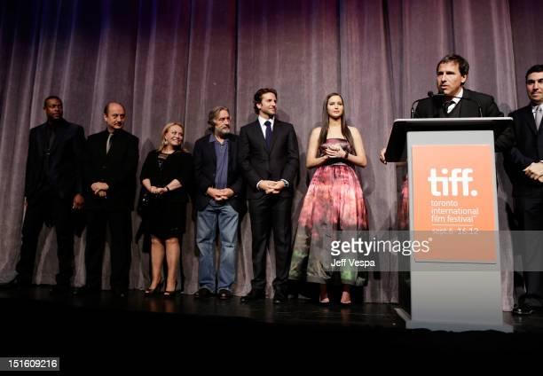 Actors Chris Tucker Anupam Kher Jacki Weaver Robert De Niro Bradley Cooper Jennifer Lawrence Writer/Director David O Russell and Producer Jonathan...