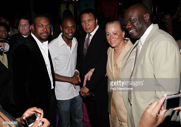 Actors Chris Tucker Dave Chappelle boxing great Muhammad Ali wife Yolanda Williams and Barry Donalson attends the Grand Gala Hilton VIP reception...