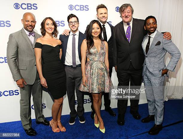 Actors Chris Williams Susannah Fielding Christopher MintzPlasse Christine Ko Joel McHale Stephen Fry and Shaun Brown of CBS television series The...