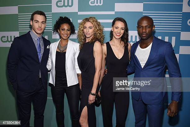 Actors Chris Wood Christina Moses Claudia Black Kristen Gutoskie and David Gyasi attend the CW Network's 2015 Upfront at the London Hotel on May 14...