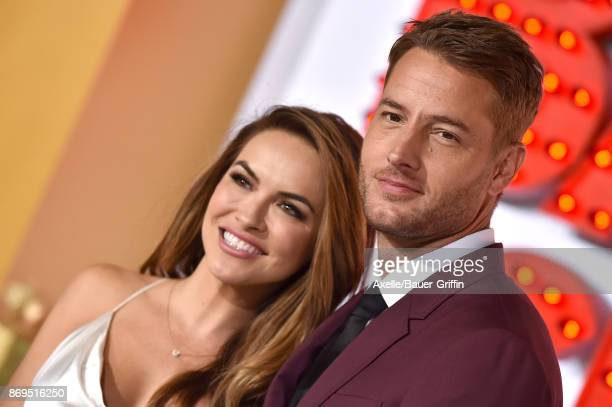 Actors Chrishell Stause and Justin Hartley arrive at the Los Angeles premiere of 'A Bad Moms Christmas' at Regency Village Theatre on October 30 2017...