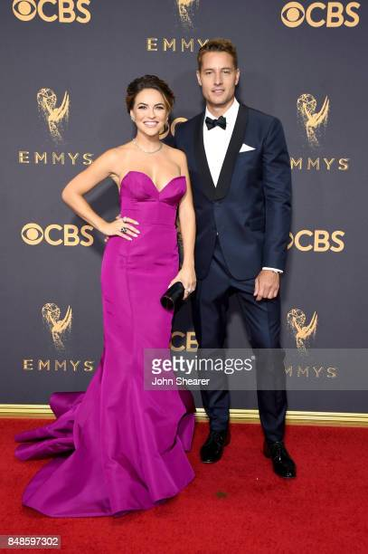 Actors Chrishell Stause and Justin Hartley attend the 69th Annual Primetime Emmy Awards at Microsoft Theater on September 17 2017 in Los Angeles...