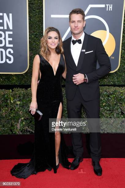 Actors Chrishell Stause and Justin Hartley attend The 75th Annual Golden Globe Awards at The Beverly Hilton Hotel on January 7 2018 in Beverly Hills...