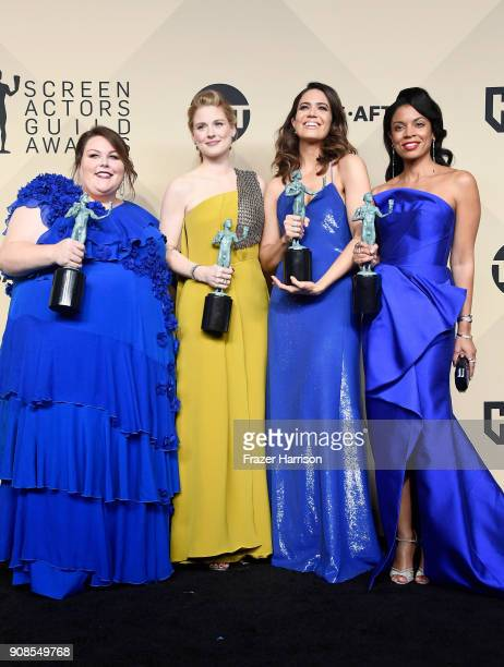 Actors Chrissy Metz Alexandra Breckenridge Mandy Moore and Susan Kelechi Watson winners of Outstanding Performance by an Ensemble in a Drama Series...