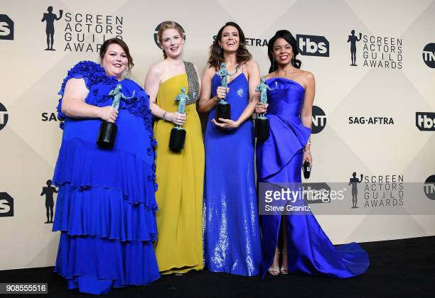Actors Chrissy Metz Alexandra Breckenridge Mandy Moore and Susan Kelechi Watson winners of the award for Outstanding Performance by an Ensemble in a...