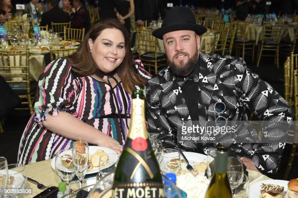 Actors Chrissy Metz and Chris Sullivan attend Moet Chandon celebrate The 23rd Annual Critics' Choice Awards at Barker Hangar on January 11 2018 in...