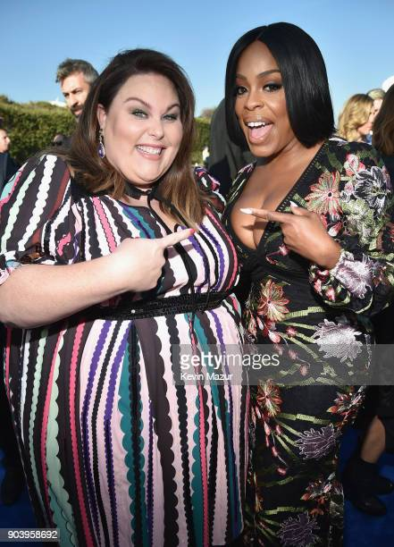 Actors Chrissy Metz and Niecy Nash attend The 23rd Annual Critics' Choice Awards at Barker Hangar on January 11 2018 in Santa Monica California