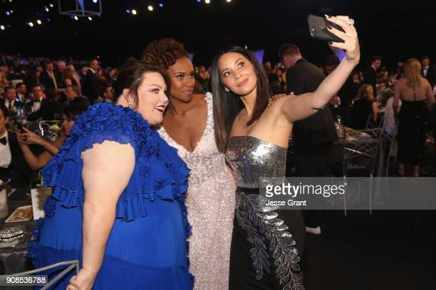 Actors Chrissy Metz Ryan Michelle Bathe and Olivia Munn take a selfie during the 24th Annual Screen ActorsGuild Awards at The Shrine Auditorium on...