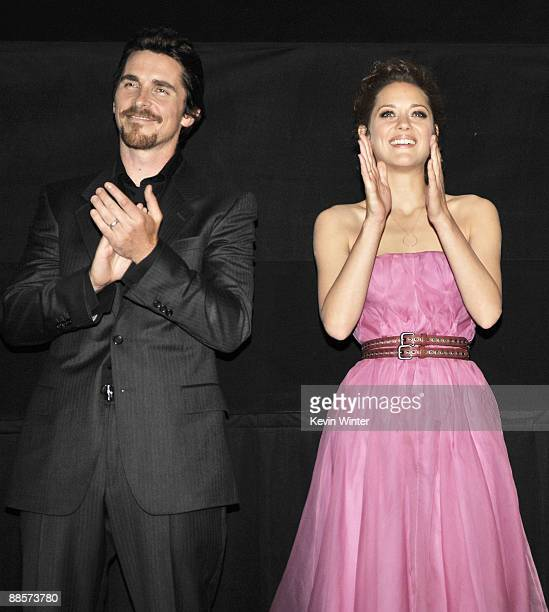 Actors Christian Bale and Marion Cotillard appear at the premiere of Universal Pictures' 'Public Enemies' at the AMC Theater on June 18 2009 in...