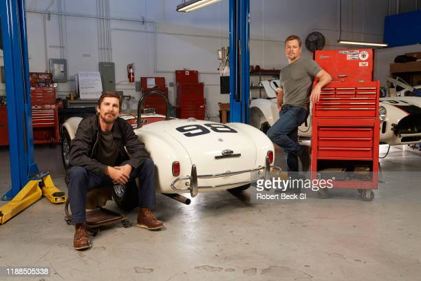 Actors Christian Bale and Matt Damon are photographed for Sports Illustrated on August 8 2019 with AC Cobra car at the Shelby Building in Gardena...