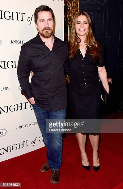Actors Christian Bale and Sibi Blazic arrive at the Premiere Of Broad Green Pictures' 'Knight Of Cups' at the Theatre at Ace Hotel on March 1 2016 in...