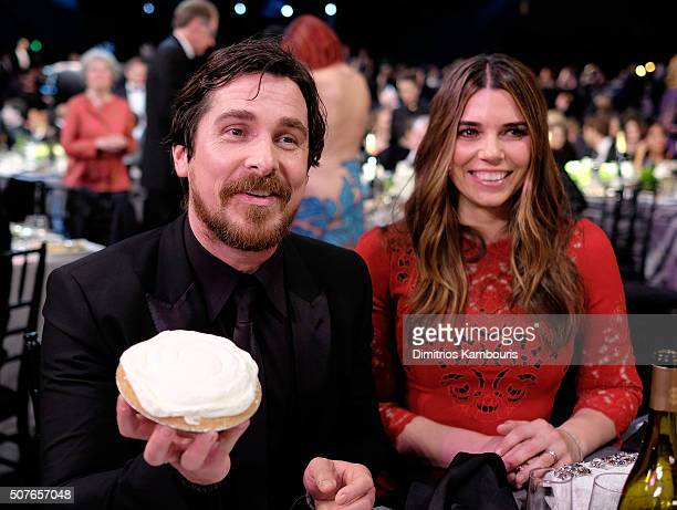 Actors Christian Bale and Sibi Blazic during The 22nd Annual Screen Actors Guild Awards at The Shrine Auditorium on January 30 2016 in Los Angeles...