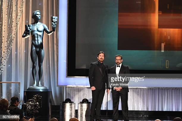 Actors Christian Bale and Steve Carell speak onstage during The 22nd Annual Screen Actors Guild Awards at The Shrine Auditorium on January 30 2016 in...