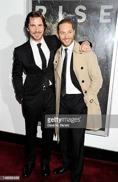 Actors Christian Bale and Tom Hardy attend the European Premiere of 'The Dark Knight Rises' at Odeon Leicester Square on July 18 2012 in London...