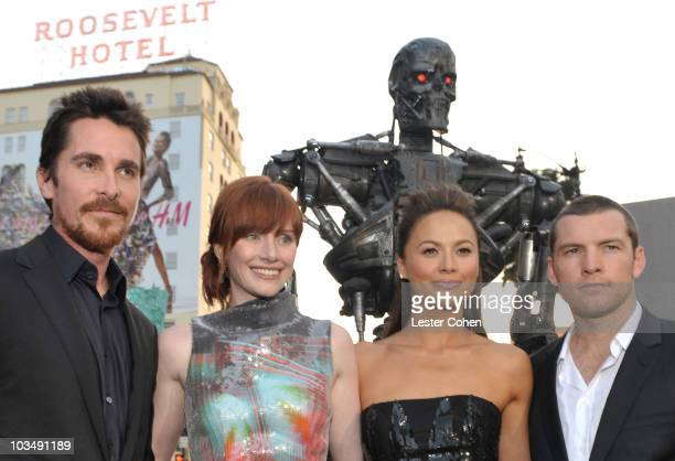 Actors Christian Bale Bryce Dallas Howard Moon Bloodgood and Sam Worthington arrive at the Premiere of Warner Bros Terminator Salvation held at...