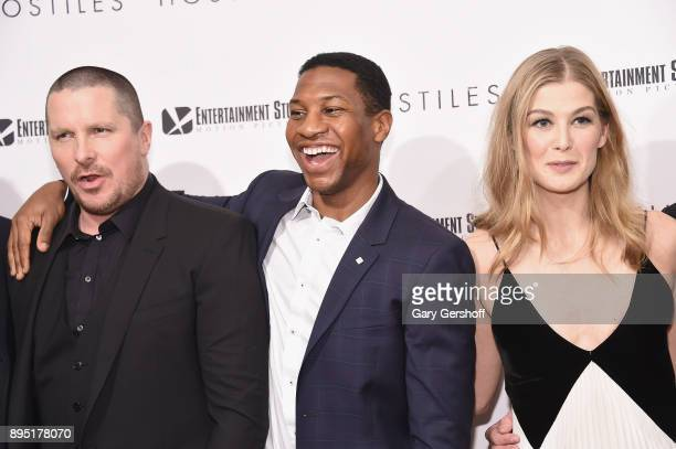 Actors Christian Bale Jonathan Majors and Rosamund Pike attend 'Hostiles' New York premiere at Metrograph on December 18 2017 in New York City