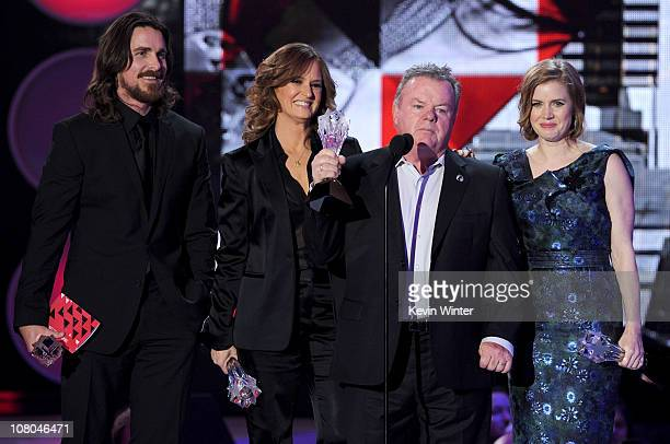 Actors Christian Bale Melissa Leo Jack McGee and Amy Adams accept the Best Acting Ensemble award onstage during the 16th annual Critics' Choice Movie...