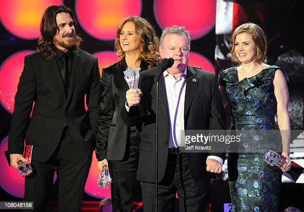 Actors Christian Bale Melissa Leo Jack McGee and Amy Adams speak onstage during the 16th Annual Critics' Choice Movie Awards at the Hollywood...