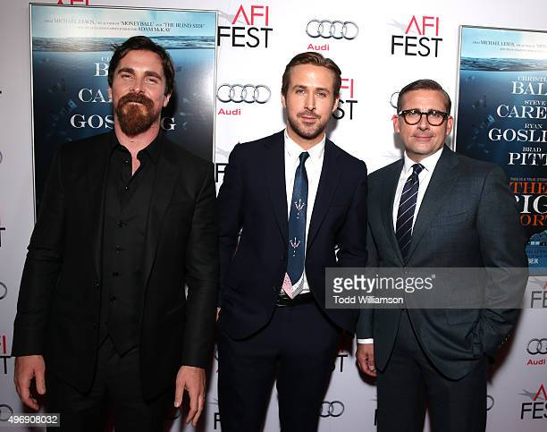 """Actors Christian Bale, Ryan Gosling and Steve Carell attend the closing night gala premiere of Paramount Pictures' """"The Big Short"""" during AFI FEST..."""