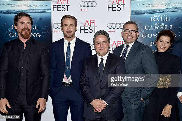 Actors Christian Bale, Ryan Gosling, chairman and CEO of Paramount Pictures Brad Grey and actors Steve Carell and Marisa Tomei attend the closing...