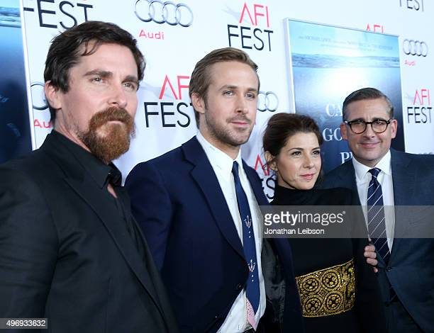 Actors Christian Bale Ryan Gosling Marisa Tomei and Steve Carell attend Audi at the closing night gala premiere of The Big Short during AFI FEST 2015...