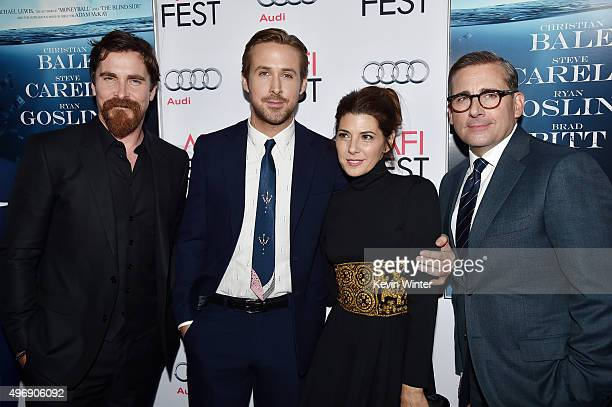 """Actors Christian Bale, Ryan Gosling, Marisa Tomei and Steve Carell attend the closing night gala premiere of Paramount Pictures' """"The Big Short""""..."""