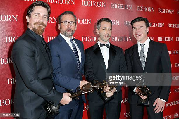 Actors Christian Bale Steve Carell Jeremy Strong and Finn Wittrock pose with the Ensemble Performance Award for The Big Short during the 27th Annual...