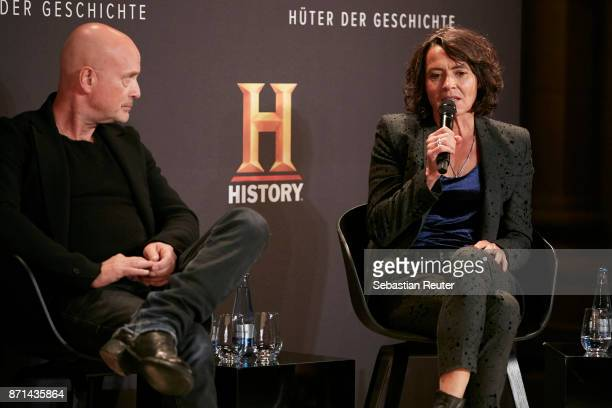 Actors Christian Berkel and Ulrike Folkerts are seen at the preview screening of the new documentary 'Guardians of Heritage Hueter der Geschichte' by...
