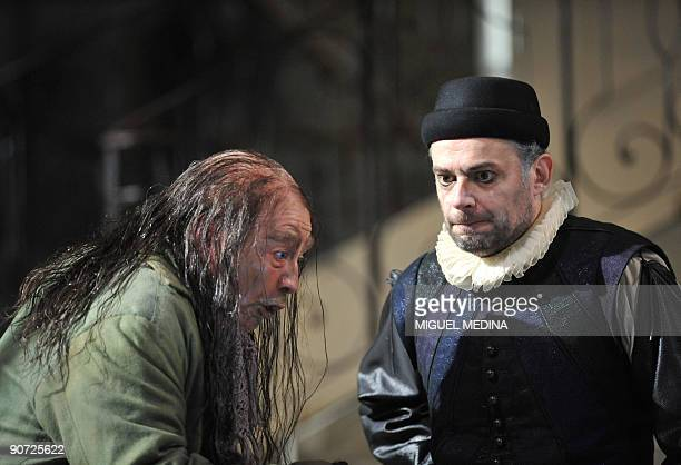 Actors Christian Blanc as Maitre Simon and Denis Podalydes as Harpagon perform on September 14 2009 at the French state Theater La Comedie Francaise...