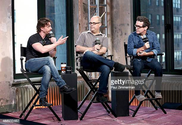 Actors Christian Borle, Brad Oscar and Brian d'Arcy James attends AOL Build speaker series at AOL Studios In New York on September 18, 2015 in New...