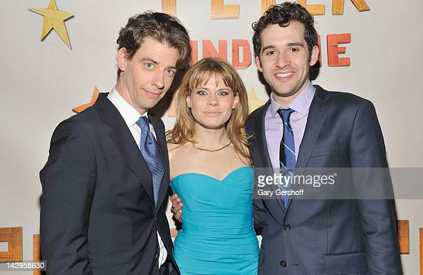 Actors Christian Borle Celia KeenanBolger and Adam ChanlerBerat attend the after party for the opening night of 'Peter and the Starcatcher' on...