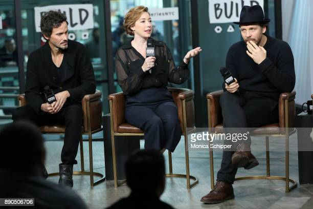 Actors Christian Camargo Molly Parker and Peter Sarsgaard discuss 'Wormwood' at Build Studio on December 11 2017 in New York City