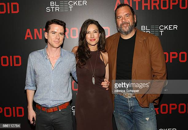 Actors Christian Campbell and America Olivo and voice actor Dwayne Hill attend the 'Anthropoid' New York Premiere at AMC Lincoln Square Theater on...
