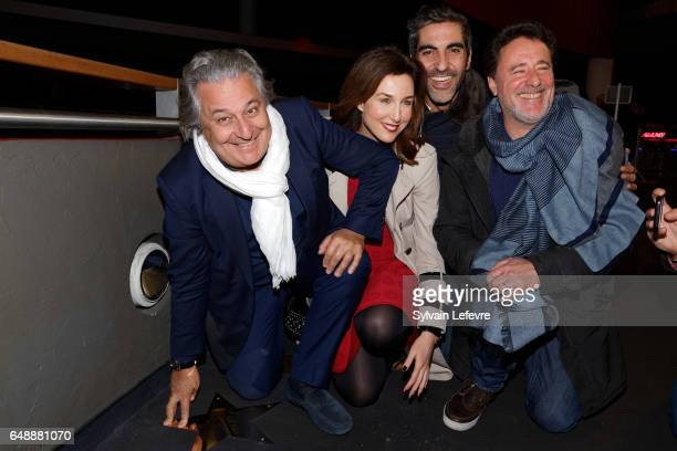 Actors Christian Clavier Elsa Zylberstein Ary Abittan and director Philippe De Chauveron attend 'A bras ouverts' premiere at Lomme Kinepolis on March...