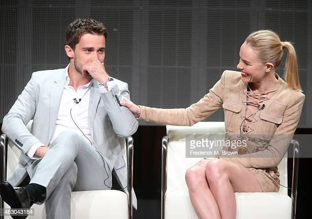 Actors Christian Cooke and Kate Bosworth speak onstage during 'The Art of More' panel discussion at the Crackle portion of the 2015 Summer TCA Tour...