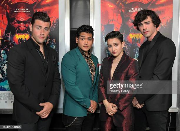 Actors Christian James Matt Mercurio Bex TaylorKlaus and Roby Attal attend the Opening Night Screening Of HELL FEST at the TCL Chinese 6 Theater on...