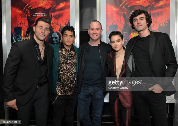 Actors Christian James Matt Mercurio director Gregory Plotkin and actors Bex TaylorKlaus and Roby Attal attend the Opening Night Screening Of HELL...