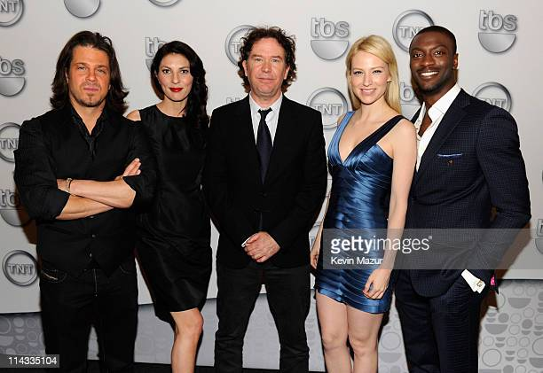 Actors Christian Kane Gina Bellman Timothy Hutton Beth Riesgraf and Aldis Hodge attend the TEN Upfront 2011 at Hammerstein Ballroom on May 18 2011 in...